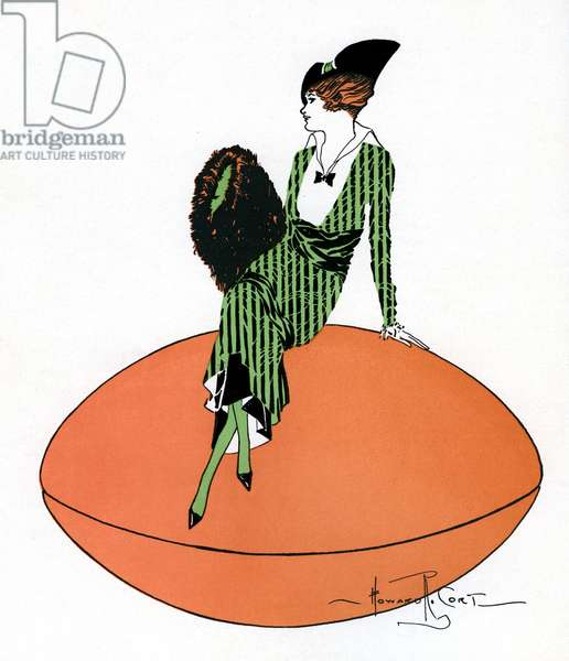 Vintage Illustration of Flapper Sitting on Giant Football, 1920s (colour litho)
