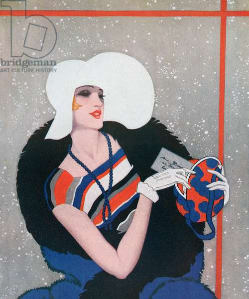 Fashionable Flapper on Her Way to a Party, 1928 (screen print)