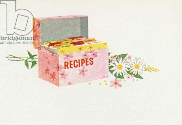Retro Food: Recipe Box, 1957 (screen print)