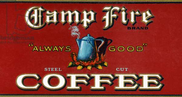 Vintage Camp Fire Coffee Product Label, 1919 (colour litho)