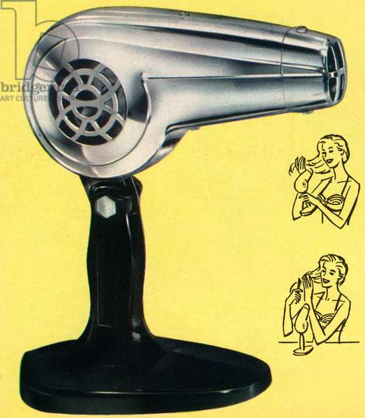 Retro Chrome Hairdryer, 1958 (screen print)