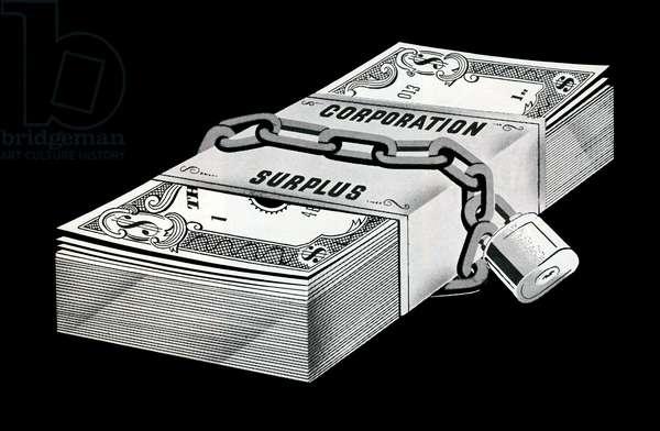 Stack of locked money labeled Corporation Surplus, 1956 (screenprint)
