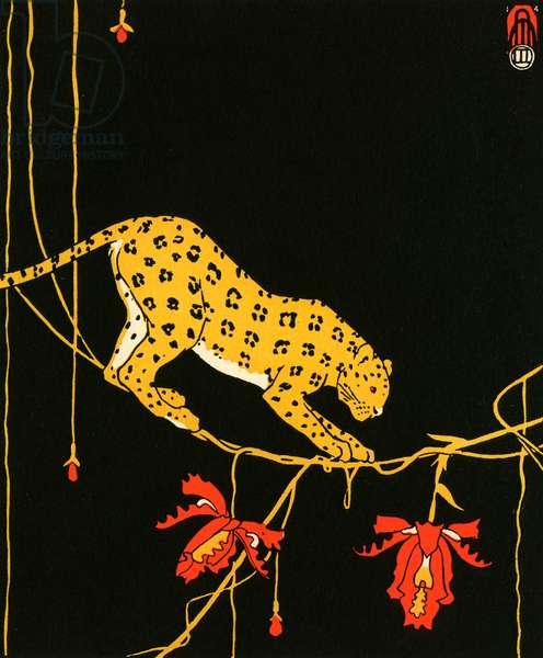 Illustration of Leopard by Maxwell Armfield, 1914 (screenprint)