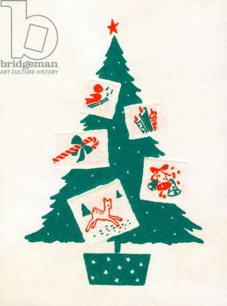 Christmas Tree Decorated with Christmas Cards, 1940s (lithograph)