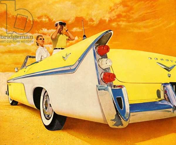 Couple in Yellow Convertible, 1957 (screenprint)