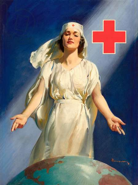 WWII Red Cross Nurse Poster, c.1940s (oil on canvas)