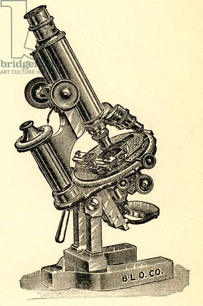 Engraving of an Antique Compound Microscope, c.1910 (engraving)