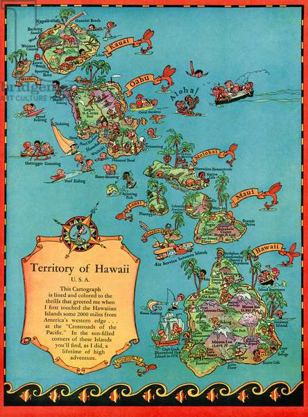 Vintage Tourist Map of Hawaii, 1930s (color print)