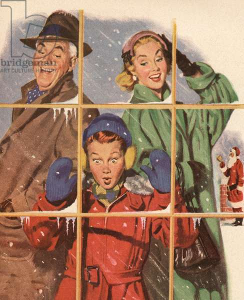 Happy Family Looking at Gifts in a Store Window on Christmas Eve, 1952 (screen print)