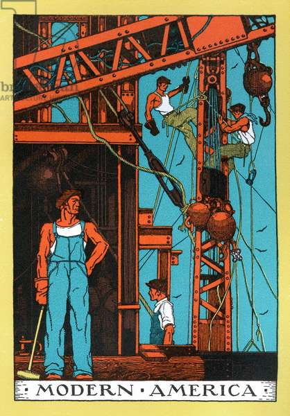 Allegory of the 'Modern Industrial Age' of 1930s America, 1930 (colour litho)
