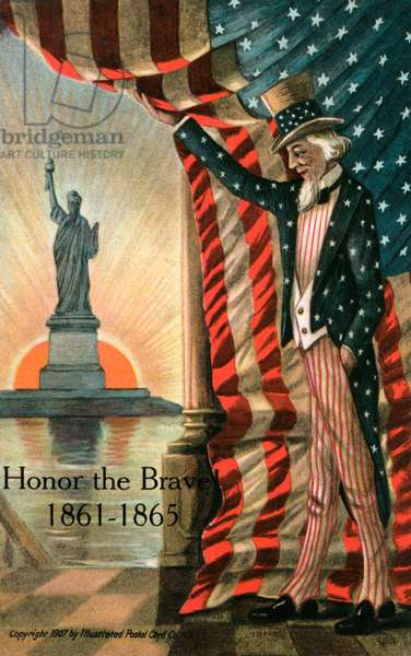 Uncle Sam and the Statue of Liberty, 1907 (chromolithograph)