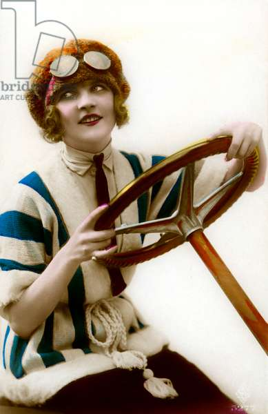 Woman Driver Holding Steering Wheel, c.1920 (hand-colored photo)