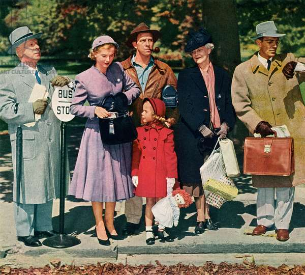 Americans Waiting at a Rural Bus Stop in the 1950s, 1952 (screenprint)
