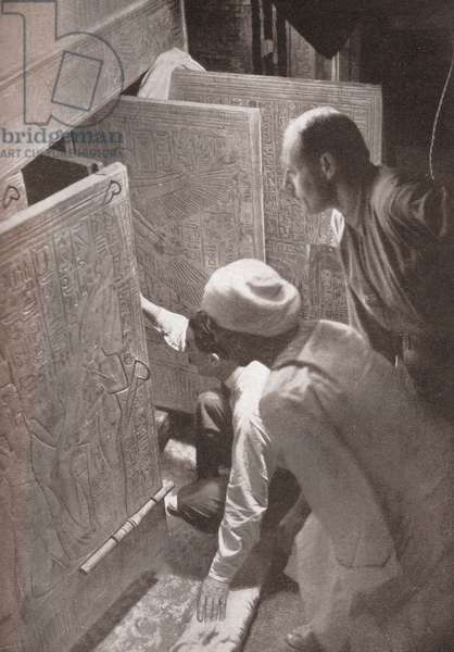Howard Carter Opening Tutankhamen's Burial Shrine, 1922 (screen print)