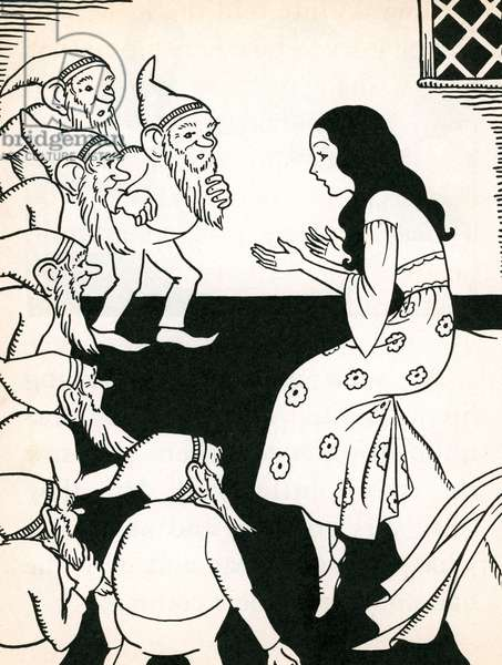 Snow White Explains Her Predicament to the Seven Dwarfs, 1937 (litho)