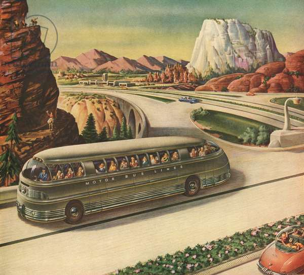 Futuristic Passenger Bus Travelling on a Highway in the American Southwest, 1942 (screen print)