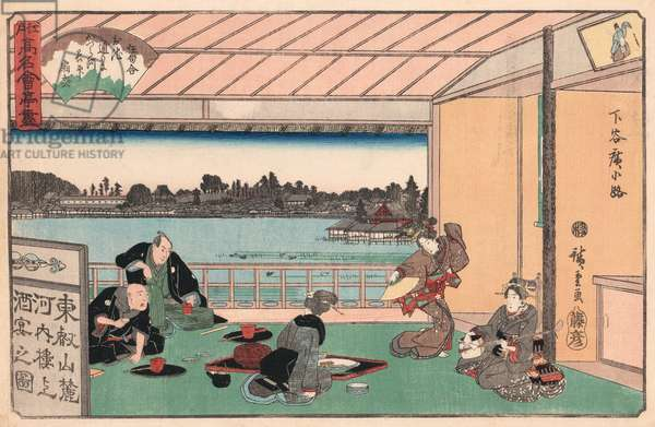 Drinking Party at a Restaurant by Ando Hiroshige, 1837-44 (woodblock print)