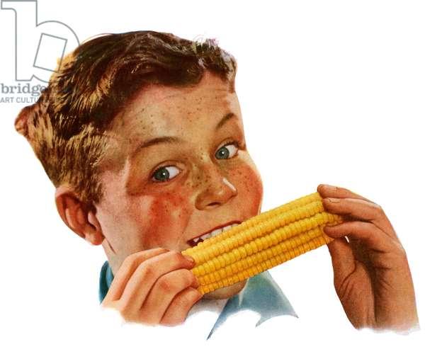 Happy Young Boy Eating Corn on the Cob, 1944 (screenprint)