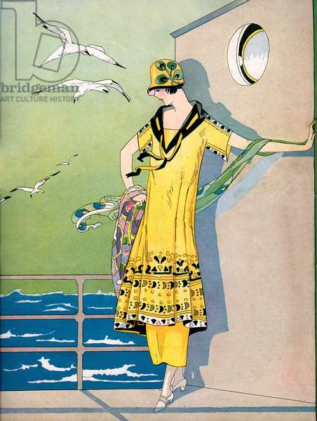 Fashionable Flapper on the Deck of a Cruise Ship, 1920 (lithograph)