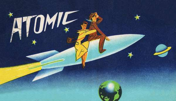 Couple Riding on Rocket in Outer Space, c.1940 (screenprint)