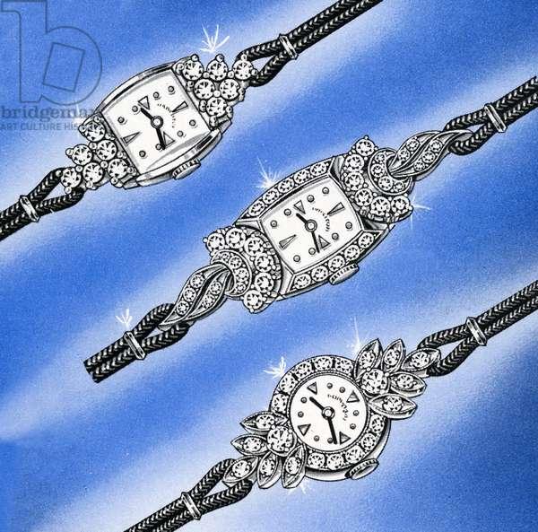Three White Gold and Diamond Ladies' Watches, 1958 (screen print)