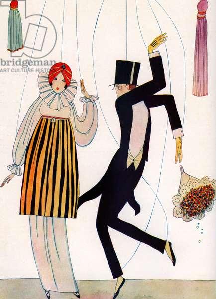 Illustration of Fashionable Couple as Marionettes, 1910 (screenprint)