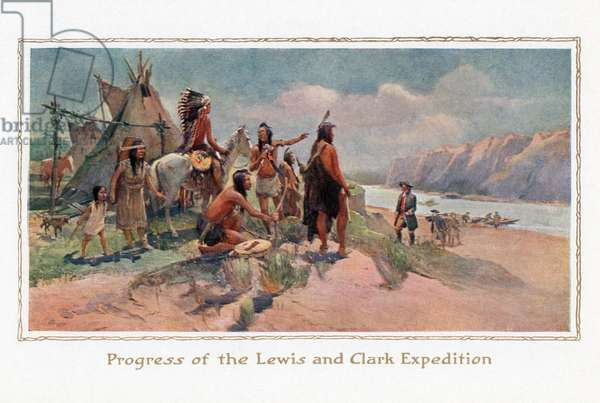 Lewis and Clark Greeted by Native Americans, 1914 (screen print)