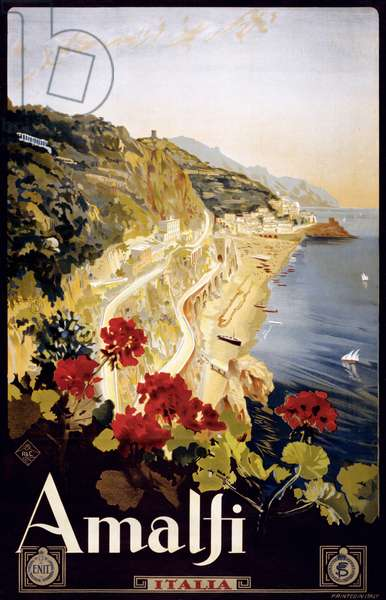 Amalfi Coast Travel Poster, c.1910 (lithograph)