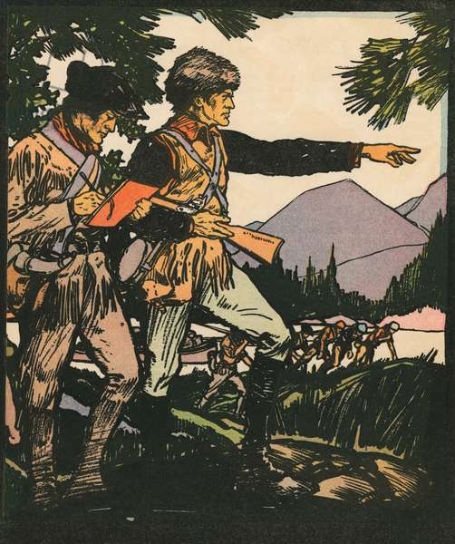 Explorers: Lewis and Clark in the American Frontier, 1931 (woodcut print)