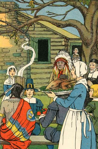 Illustration of the First Thanksgiving, 1926 (screen print)
