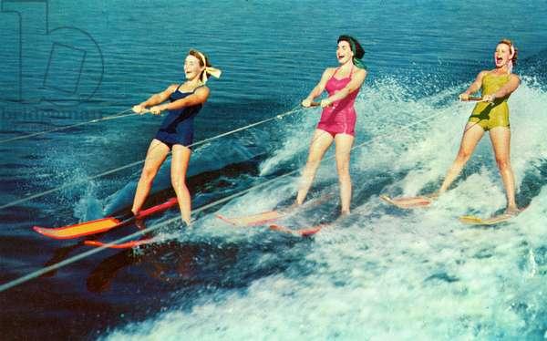 Three Women in Swimsuits Waterskiing, c.1955 (screenprint)