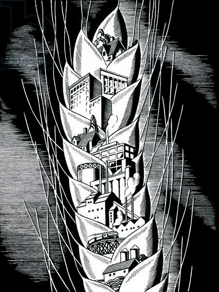 Wheat with Buildings, 1951 (woodcut print)