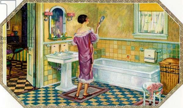 Woman Standing in an Art Deco Bathroom, 1927 (screen print)