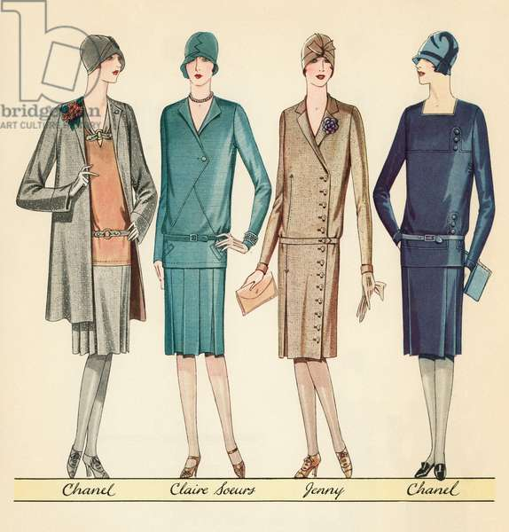 Four Flappers Modelling French Designer Outfits, 1928 (screen print)