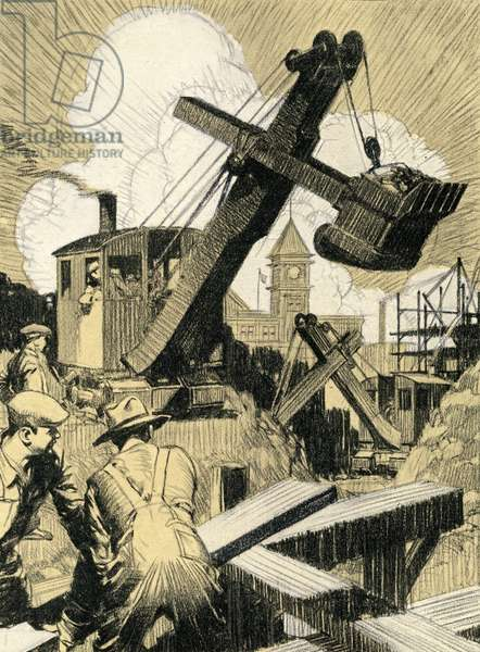 Industrial Construction with Steam Shovel and Laborers, 1930 (screenprint)