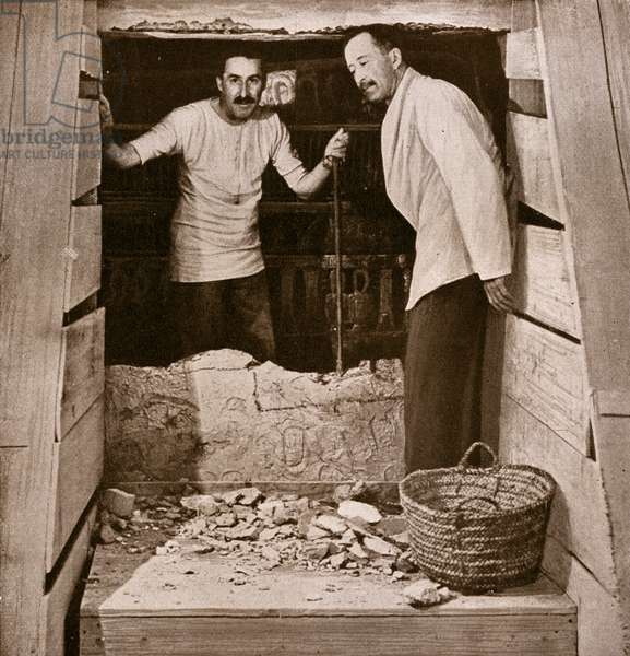Howard Carter and Lord Carnarvon at Opening of King Tutankhamun's Tomb, 1922 (b/w photo)