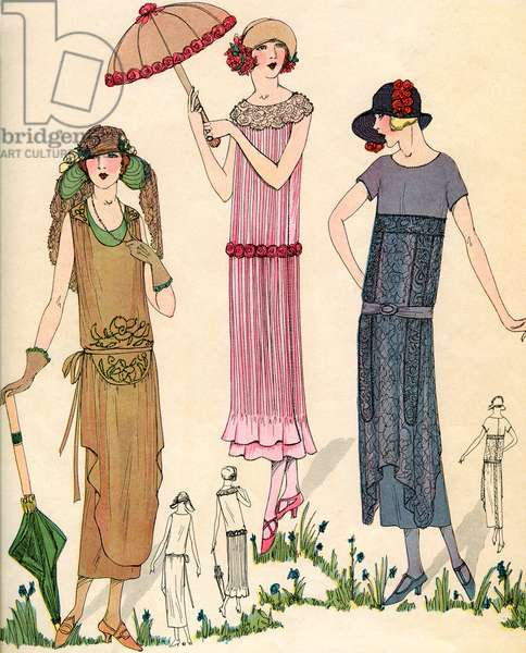 Models Pose with 1920s Flapper Fashions, 1922 (lithograph)
