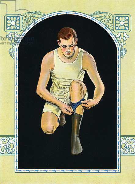 Illustration of Man Adjusting Sock Garters, c.1925 (screenprint)