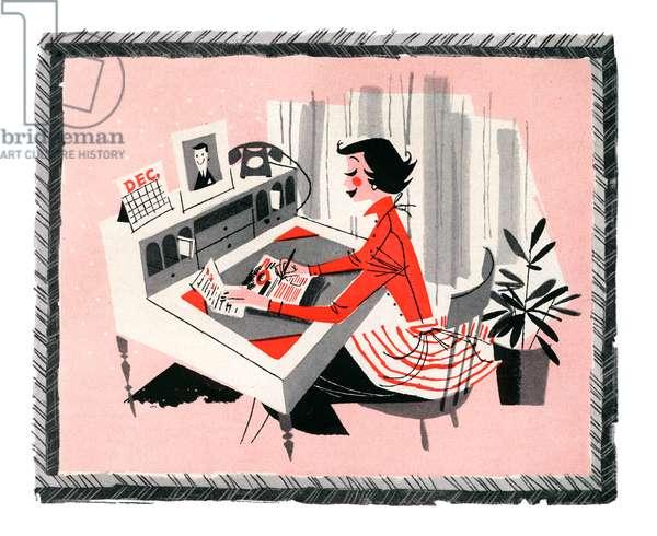 Smart Shopper Making List at Home, 1957 (screenprint)