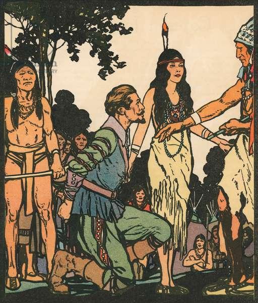 Explorers: John Smith with Pocahontas, 1931 (woodcut print)