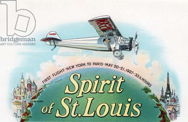 Spirit of St. Louis Flying New York to Paris, 1930 (chromolithograph)