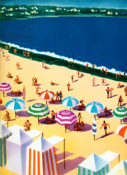 Umbrellas and Cabanas on Beach, 1949 (lithograph)