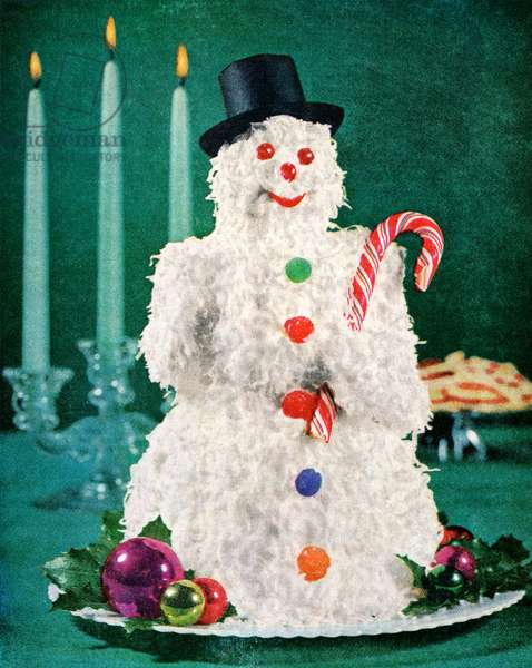 Christmas coconut cake in the shape of a snowman, 1958 (screenprint)