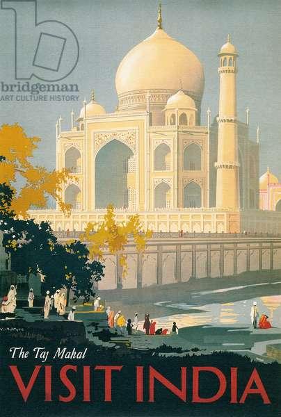 Travel Poster of the Taj Mahal, 1930 (colour litho)