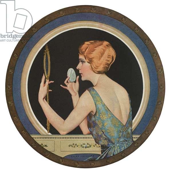 Flapper Applying Makeup in a Mirror, 1923 (screen print)
