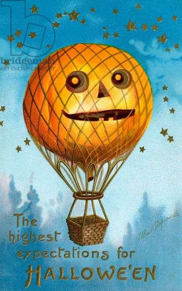 A Halloween Pumpkin Hot Air Balloon, 1909 (chromolithograph)