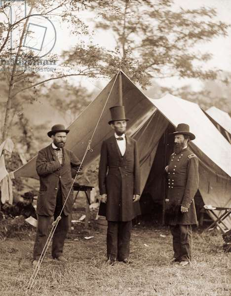 President Lincoln at the Antietam Battlefield, 1862 (wet collodion print)