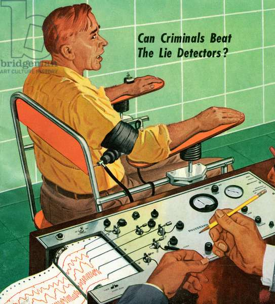 Nervous Man Taking Polygraph or Lie Detector Test, 1954 (screenprint)