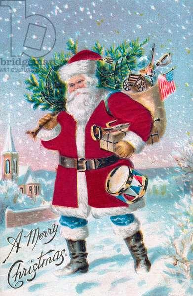 Santa Claus in a Snowy Town, c.1915 (chromolithograph)