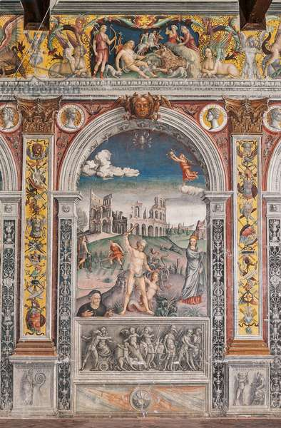 The astrological sign of Cancer, with Hercules slaying the Lernaean Hydra while Juno observes him, Chamber of the Zodiac (Camera dello Zodiaco), 1515